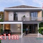 House Plans 9.5x11 Meter 3 Bedrooms Full PDF Plan