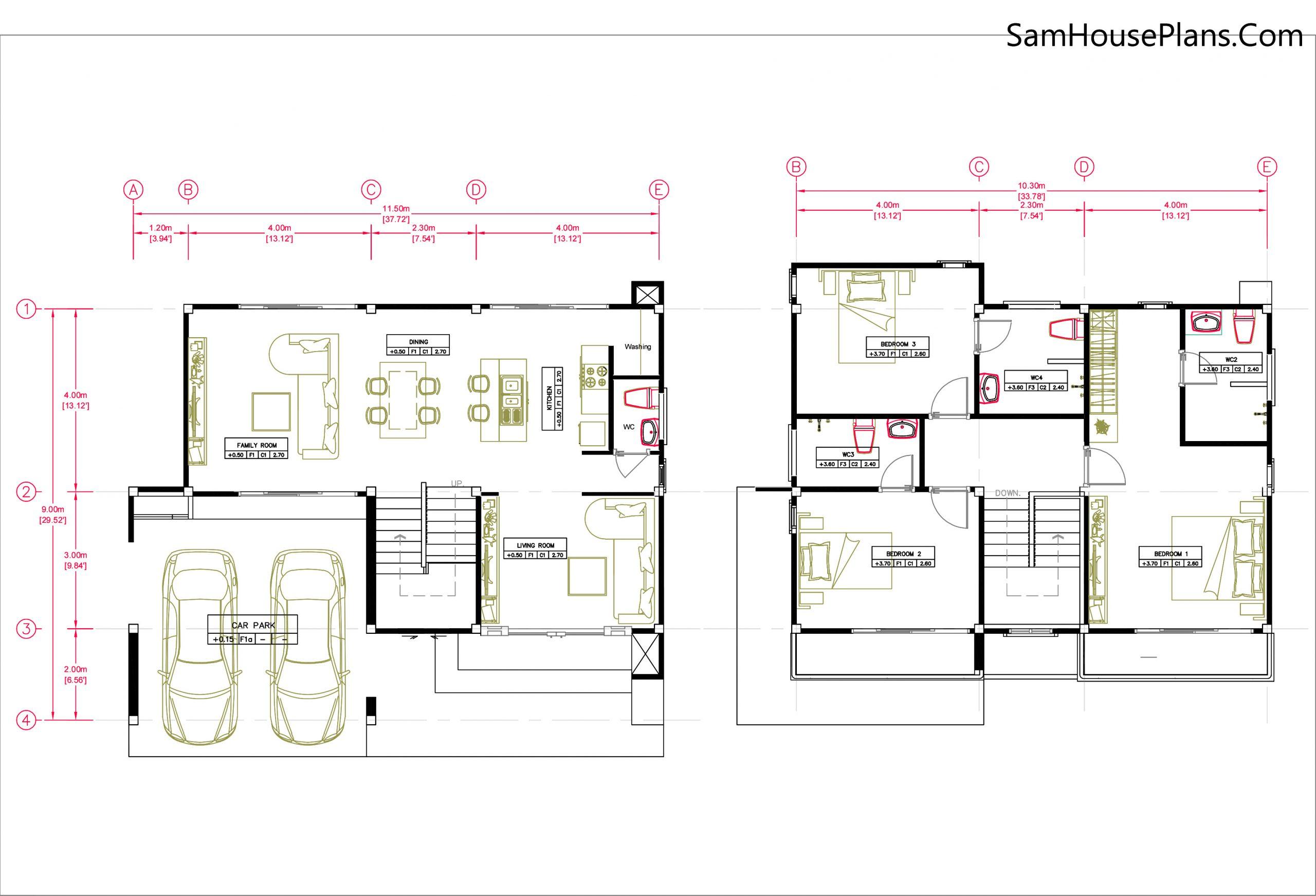 Layout floor plan 11.5x9 meter 3 bedrooms