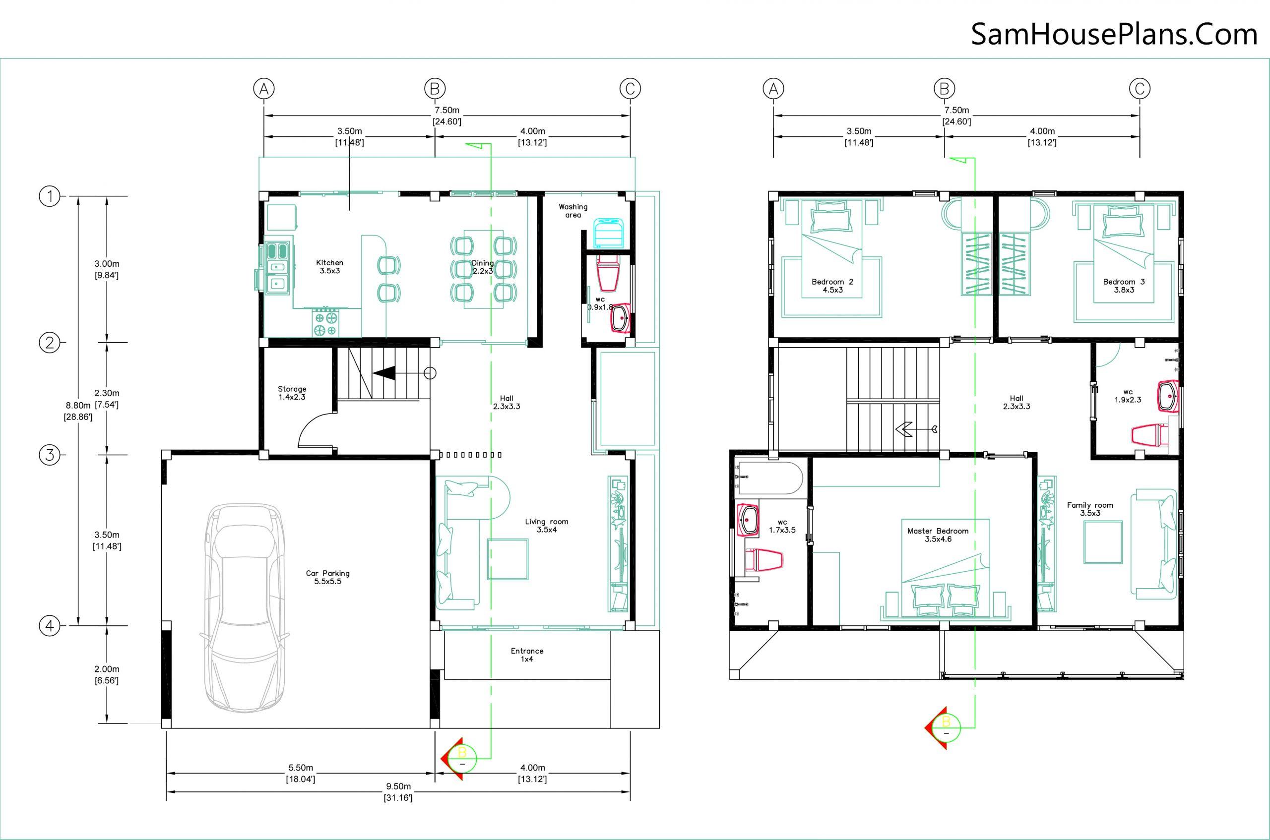 Layout floor plan 9.5x11 with 3 bedrooms full Pdf plan