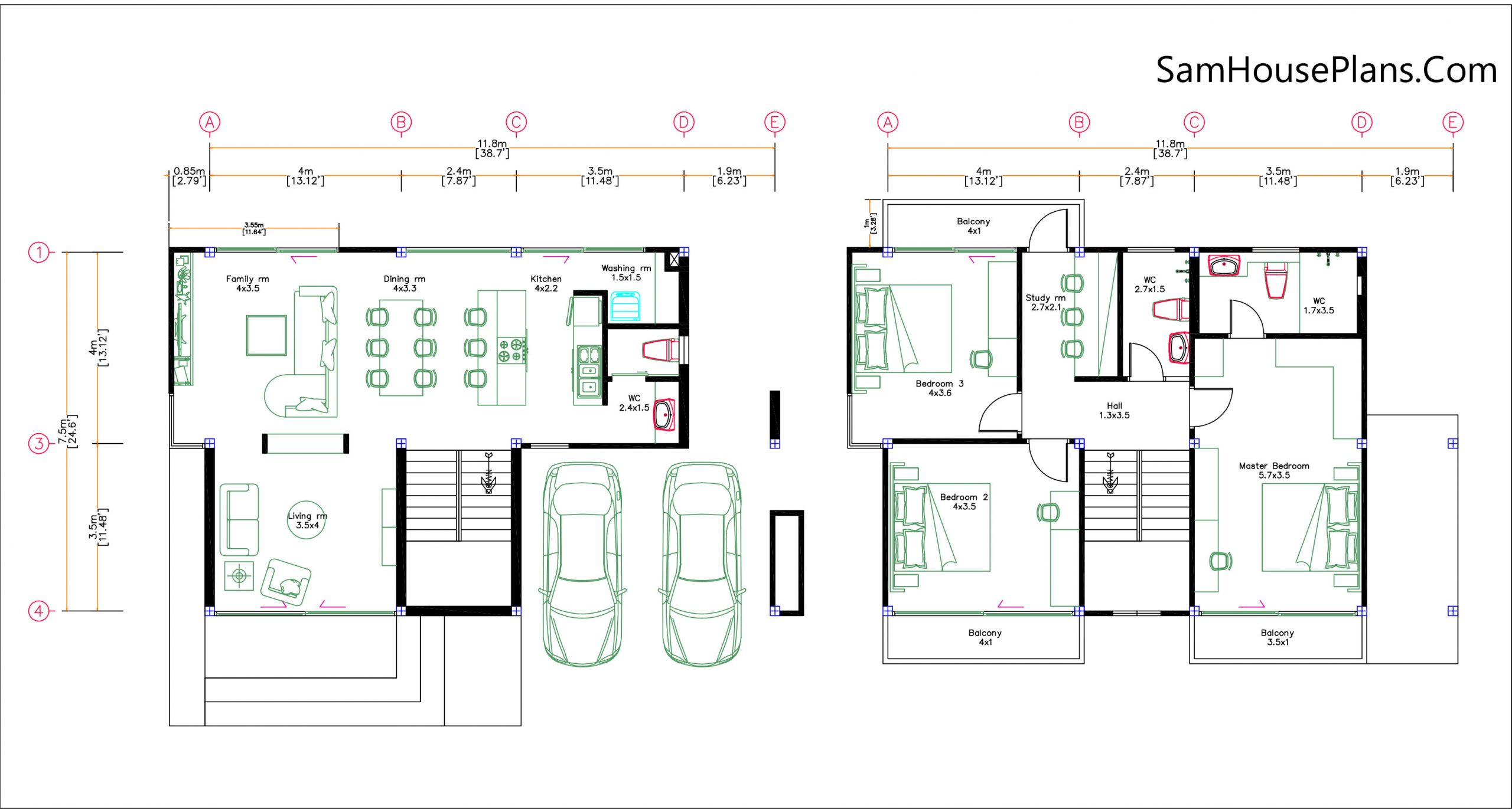 Small House Design 11.8x7.5 meters with 3 Beds Full PDF Plan Layout plan