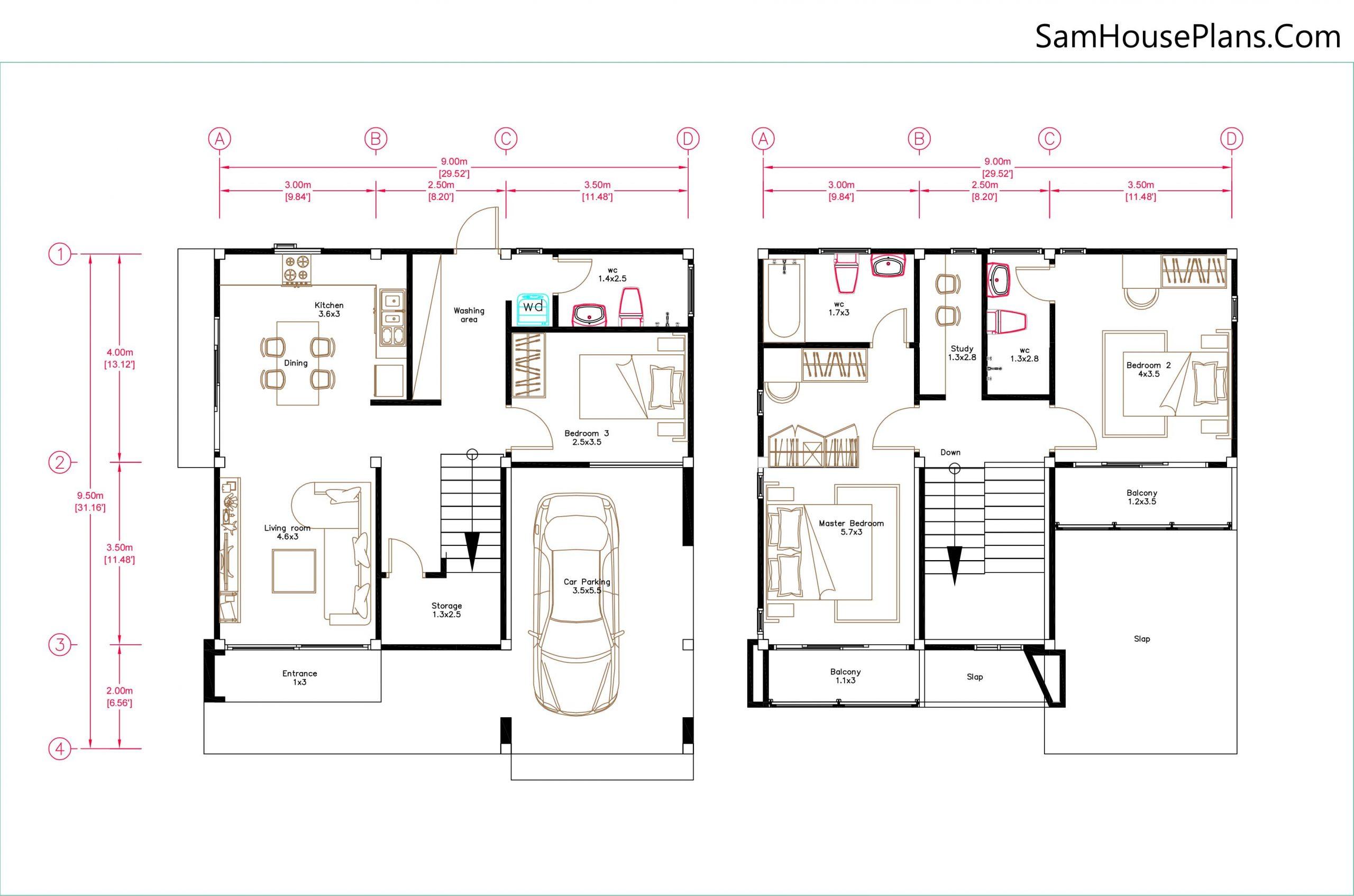 Small House Design 9x9.5 Meter 3 Bedrooms Full PDF Plan Layout floor plan 9x9.5