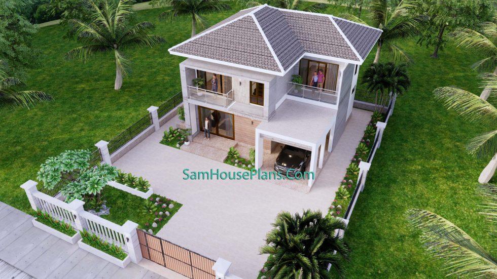Small House Design 9x9.5 Meter 3 Bedrooms Full PDF Plan Top 3d view 1