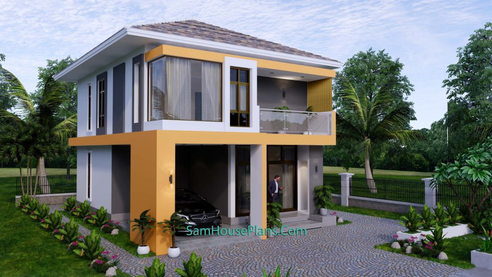 Small House Plan 7.5x9 Meter 3 Bedrooms PDF Full Plans 3d 2