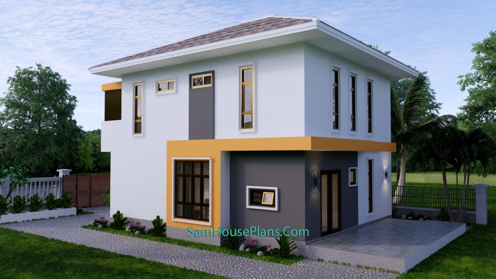 Small House Plan 7.5x9 Meter 3 Bedrooms PDF Full Plans 3d back 2