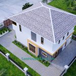 Small House Plan 7.5x9 Meter 3 Bedrooms PDF Full Plans 3d roof 2