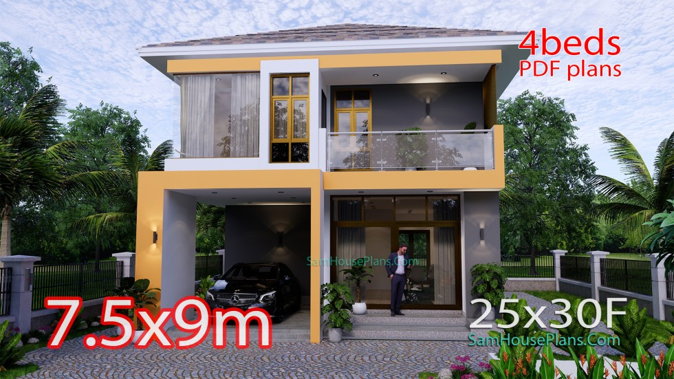 Small House Plan 7.5x9 Meter 3 Bedrooms PDF Full Plans 3d