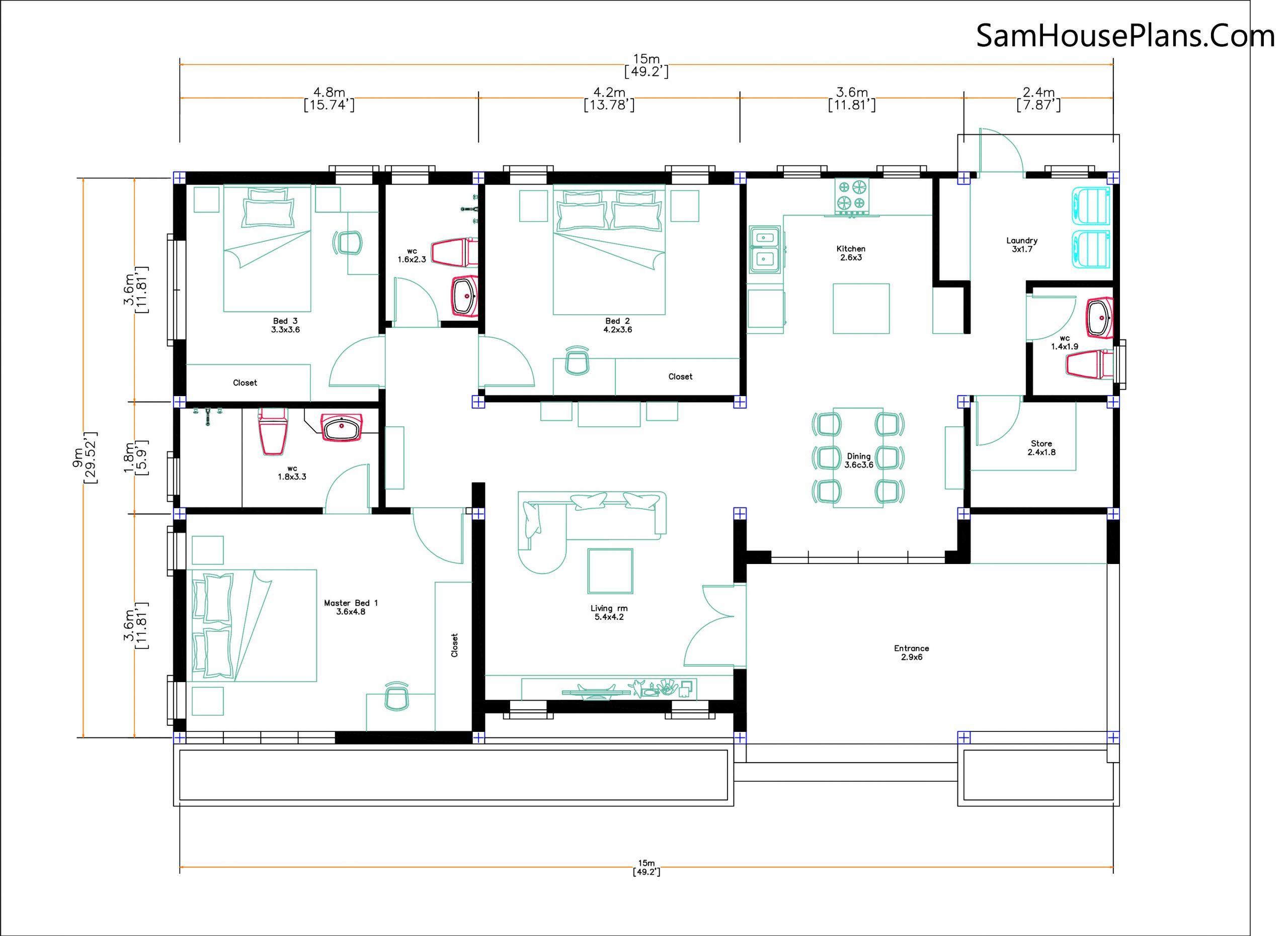 Layout floor plan Modern House Plan 15x9 M 49x30 Feet 3 Beds PDF Plan 3d