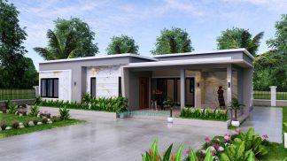 Modern House Design 15x9 M 49x30 Feet 3 Beds PDF Plan 3d view 1