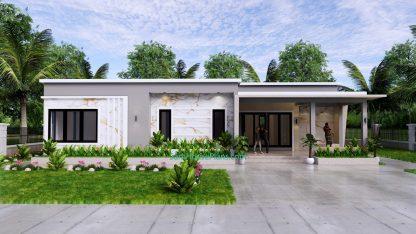 Modern House Design 15x9 M 49x30 Feet 3 Beds PDF Plan 3d view 2