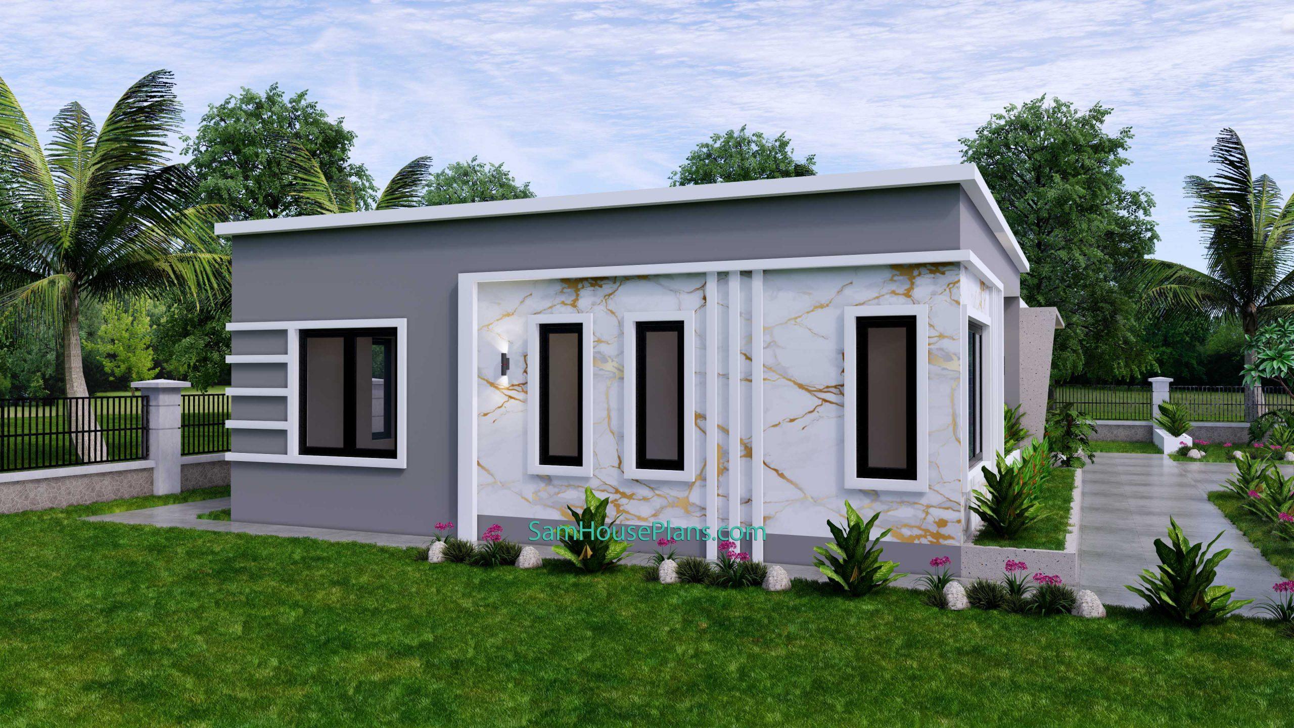 Modern House Design 15x9 M 49x30 Feet 3 Beds PDF Plan 3d view 4