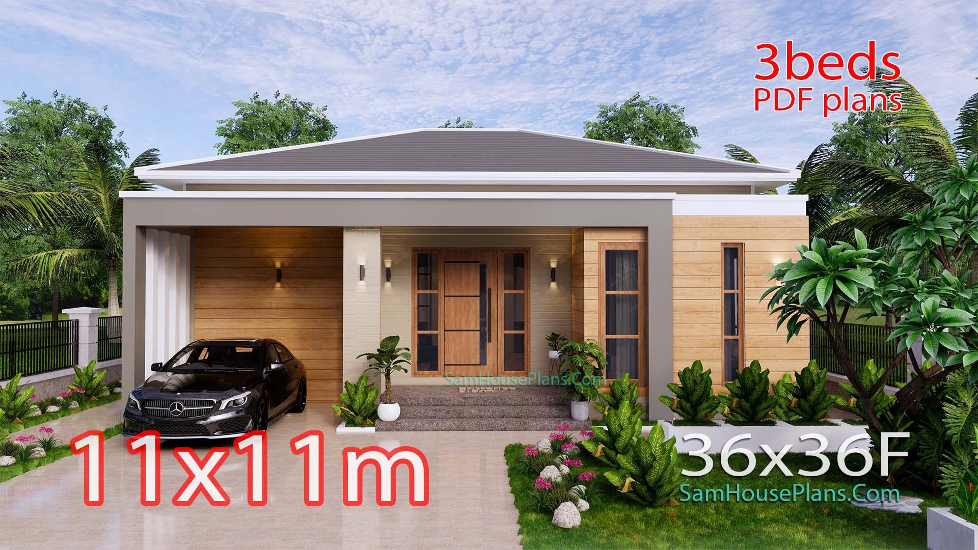 Modern House Plan 11x11 Meter 36x36 Feet 3 Beds PDF Plan