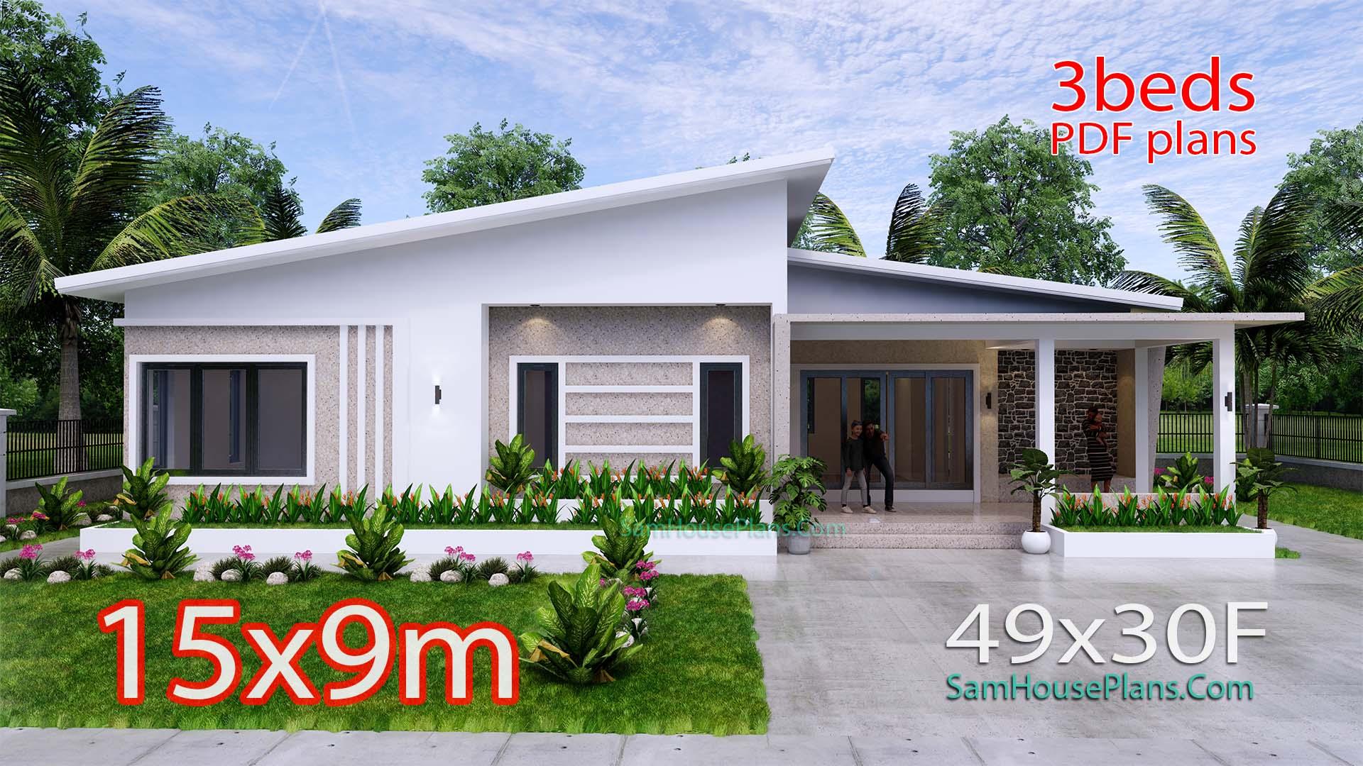 Modern House Plan 15x9 M 49x30 Feet 3 Beds PDF Plan 3d