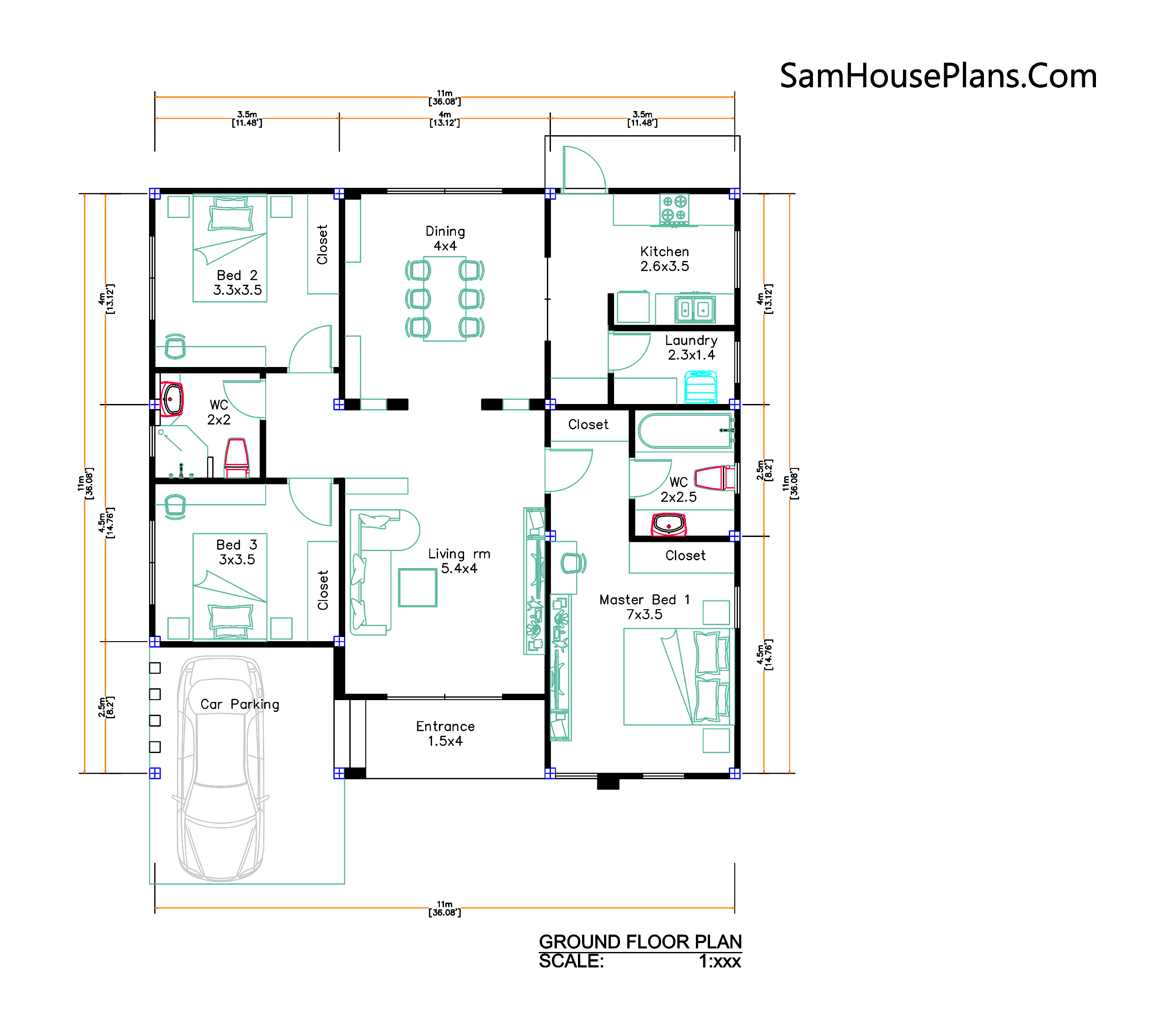 layout plan Modern House Plan 11x11 Meter 36x36 Feet 3 Beds PDF Plan 3d