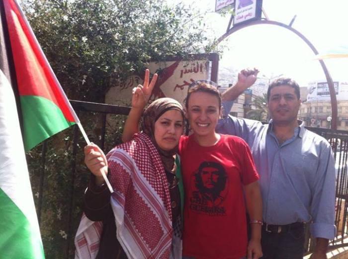 Freed prisoner Ala'a Ju'beh with former prisoner Woroud Qasem, July 18, 2013