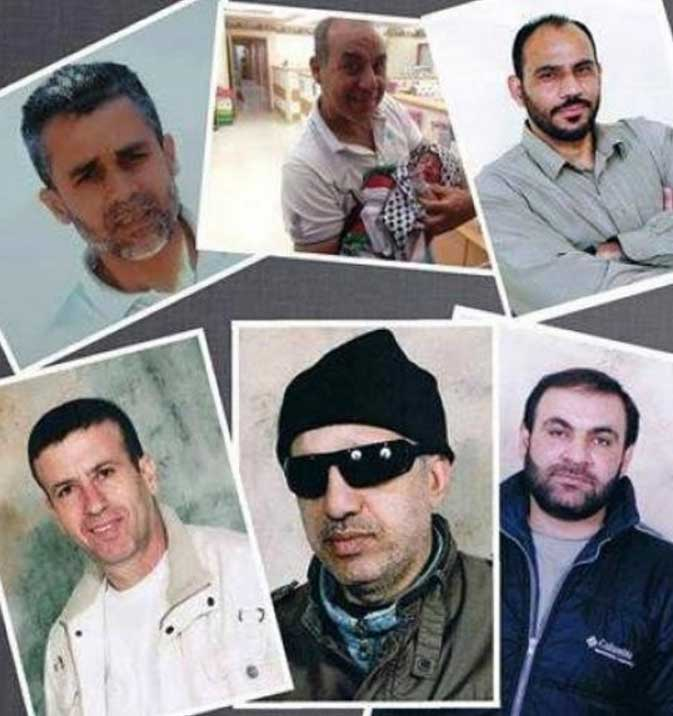 The six Palestinians whose sentences were re-imposed. Via Wattan TV