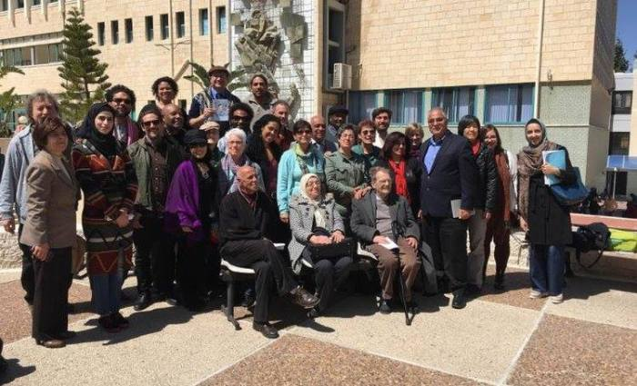 Delegation members with colleagues and students at An-Najah National University, Nablus, Palestine