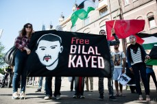Protest for the liberation of Bilal Kayen and against the privilege for settlers, The Hague, The Netherlands.