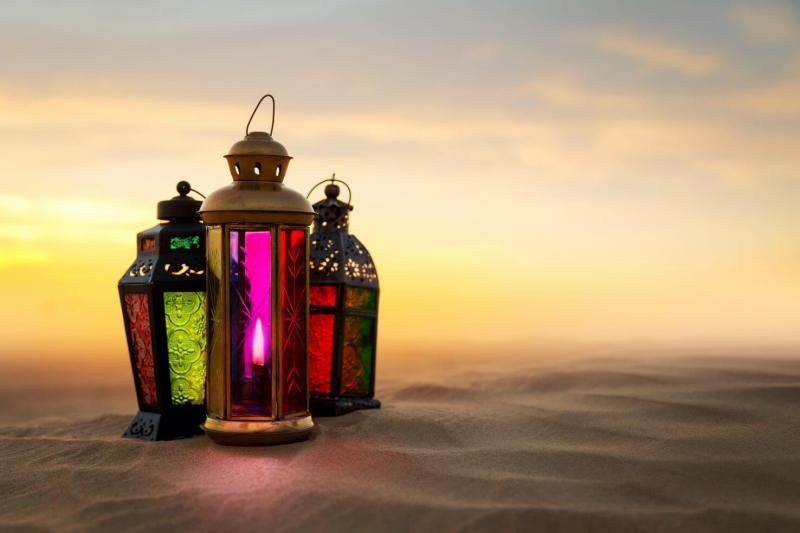 Ramadan Lantern on desert sand dunes