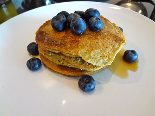 Plantain Pancakes with blueberries