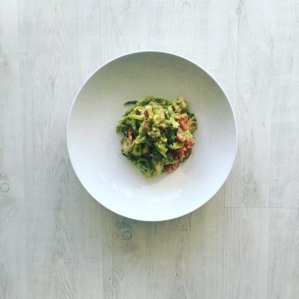 Zucchini Noodle Avocado Pesto Chicken
