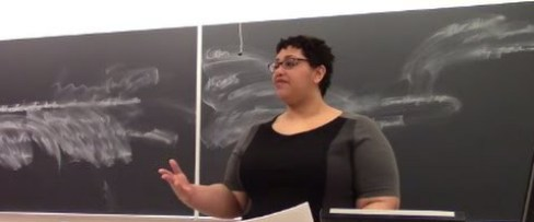 Photo of Dr. Schalk giving a talk. She is wearing a black and gray dress, gesturing with her hand. Behind her is a blackboard with white chalk eraser marks on it.