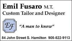 Emil Fusaro M.T. Custom Tailor and Designer for Ladies and Gentlemen, Hamilton.