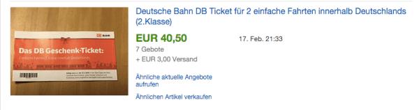 Beispiel: DB Geschenkticket verkauft für 40,50 € statt 55 €