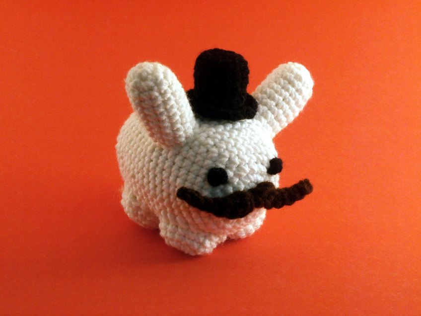 Labbit wearing Crocheted Top Hat