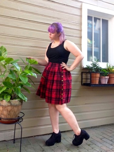 Plaid Skirt Side