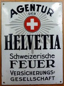 HELVETIA - Leicht gewölbtes Emailleplakat um 1915/20