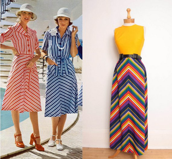 clothing of the 70s chevron stripes