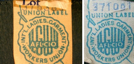this is a union tag of the ILGWU dating from 1955 to 1963