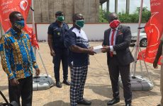 Vodafone Ghana foundation donates Boxes of nose mask to LA Dade kotopon assembly