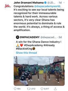 "Ex Prez Mahama Ignores Shatta Wale, congratulates Ghana's dance crew ""DwpAcademy"", in Beyonce's ""Already"" video 4"