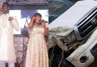 Photos: Veteran gospel musicians, Yaw Sarpong and Maame Tiwaa involved in ghastly accident