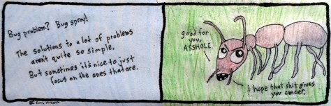 """Bug Problem."" 8/11/13. Colored pencil and ink on newsprint paper. 3¼x9¾""."