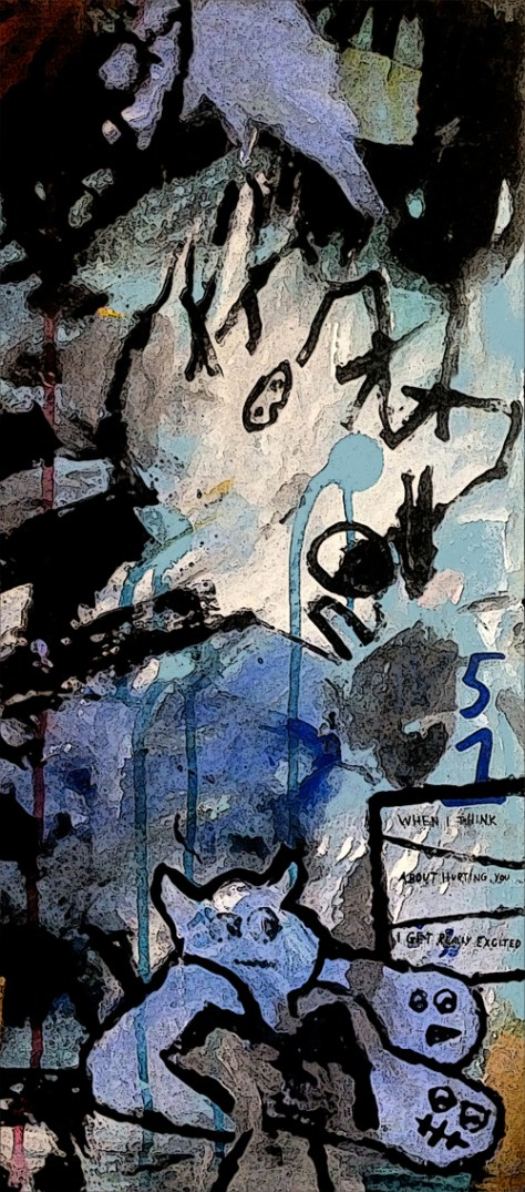 """Hard Feelings."" 2/16/13. Acrylic, fabric dye, pen, marker, on cardboard. 9x20""."