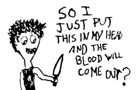"""My Favorite Cartoon."" 1/15/13. Pen on scrap. 3x4""."