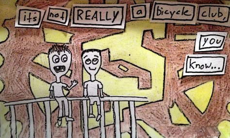 """Sam Explains Avi's Life to Him."" 5/28/13. Colored pencil and pen collage. 3.5x5""."