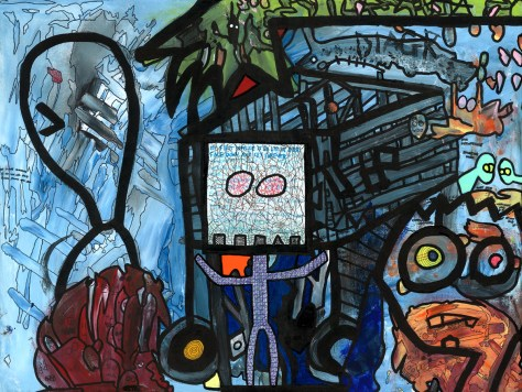 """Blueprint For a Successful Evening."" 6/17/13 and 5/12/14. Acrylic paint, spray paint, and ink. 24x18""."