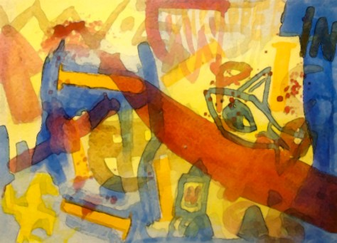 """Sharps Attack."" 2/13/13. Watercolor. 9x12½""."