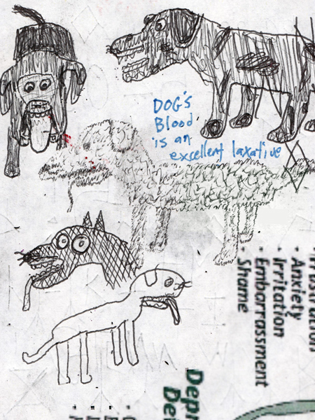 """Dog's Blood is an Excellent Laxative."" 3¾x5"". Pen. 1/25/13."