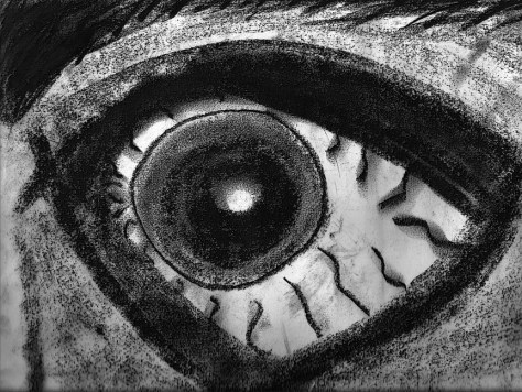 """Eye."" 1/17/13. Charcoal. 9x12""."