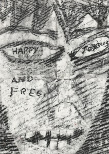 """Happy, Joyous, and Free."" 1/19/13. Charcoal. 8½x12""."