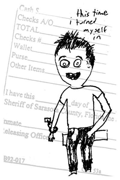 """Jail."" 3/5/13. Pen on property inventory sheet. 4x6""."