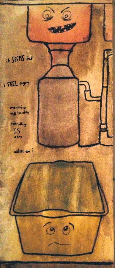 """Leaky Sinks and Stupid Fucking Garbage Disposals."" 3/18/13. Watercolor and ink on canvas. 5 ½x13 ½.""."