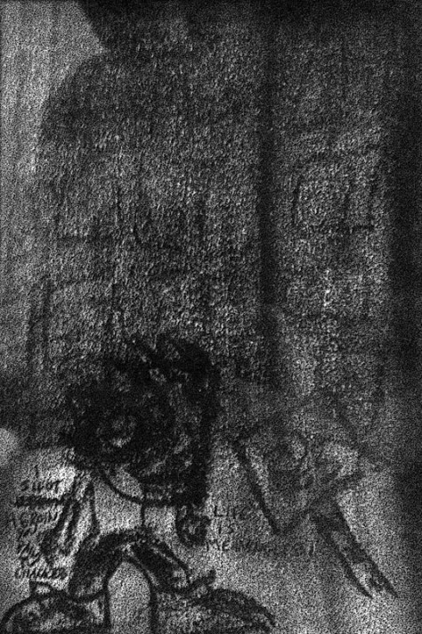 """Life is Meaningless!"" 1/16/13. Charcoal on scrap. 4x6""."