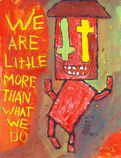 """""""Note to Self (or: A Pile of Red Boxes Dances Along to the Raging Moral and Spiritual Conflicts That Rattle His (Presumably) Cardboard Bones)."""" 3/3/13. Acrylics and ink. 9x12""""."""