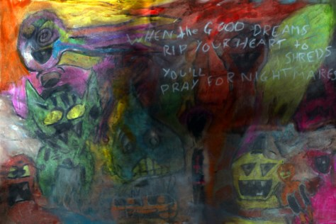 """""""Of Monsters and Giving a Shit."""" 12/13/12. Oil pastels. 12x18""""."""