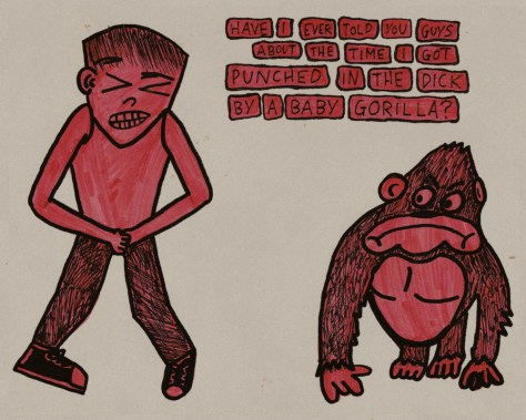"""Punched in the Dick By a Baby Gorilla."" 9/21/13. Pencil and marker on vellum."